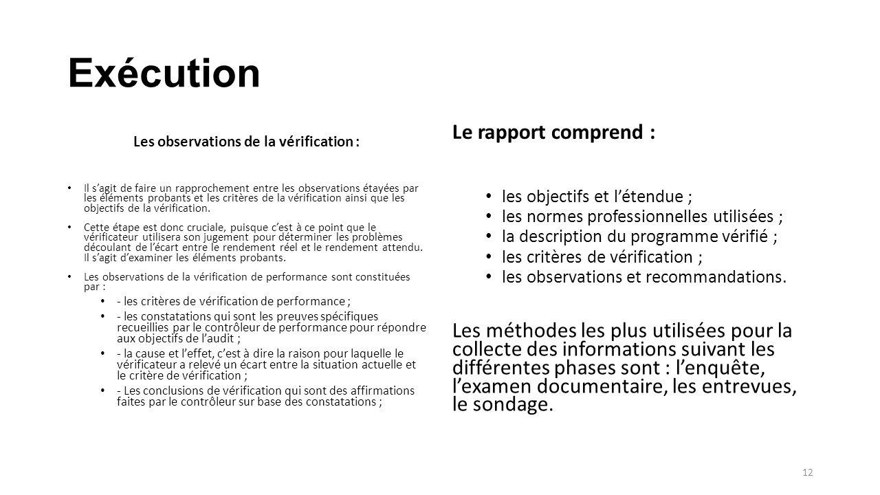 Exécution Les observations de la vérification : Il s'agit de faire un rapprochement entre les observations étayées par les éléments probants et les critères de la vérification ainsi que les objectifs de la vérification.