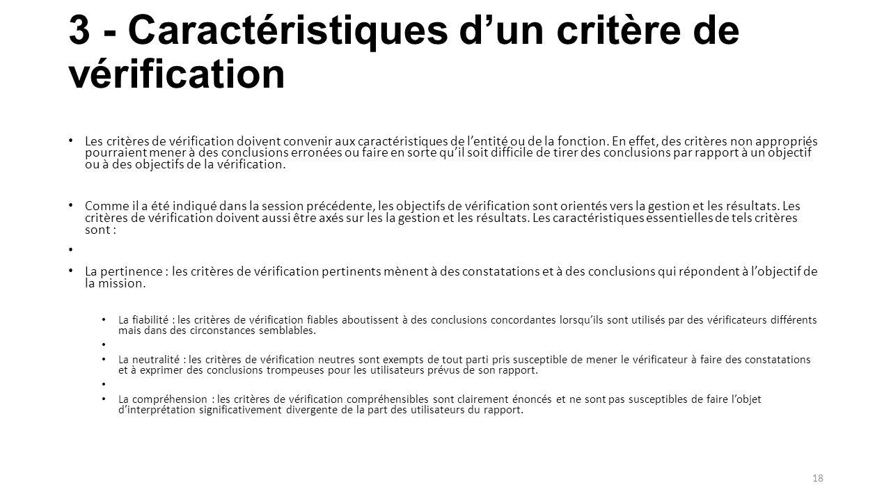 3 - Caractéristiques d'un critère de vérification Les critères de vérification doivent convenir aux caractéristiques de l'entité ou de la fonction.