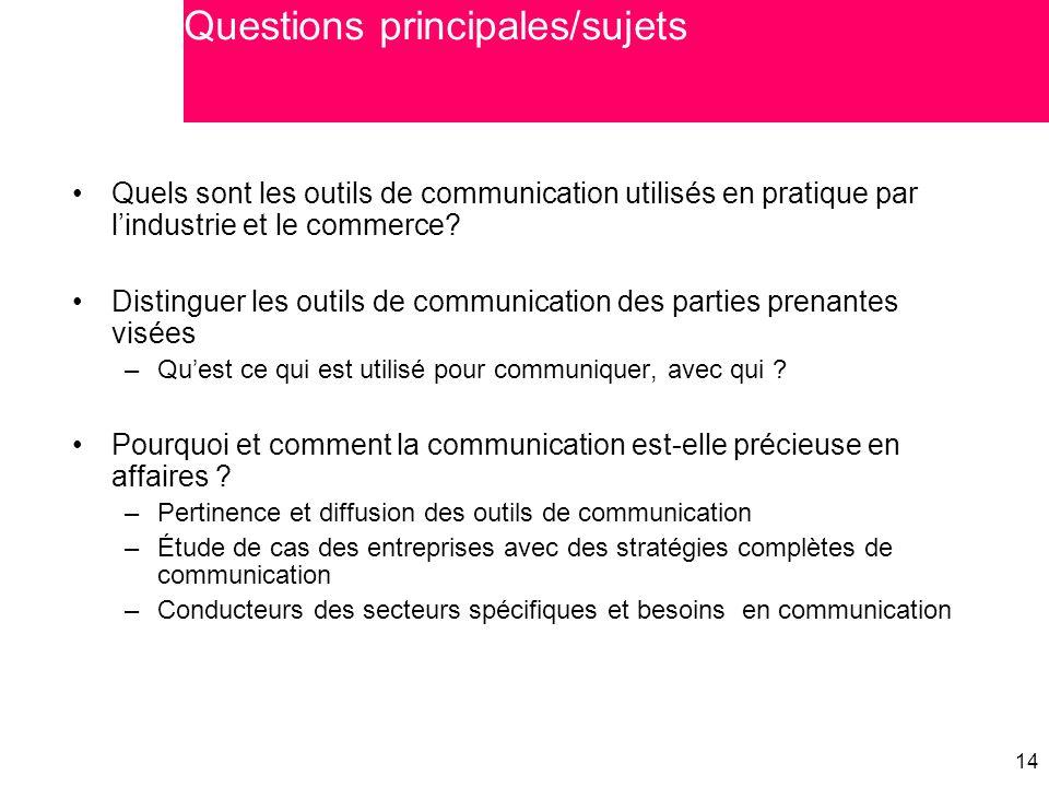 14 Quels sont les outils de communication utilisés en pratique par l'industrie et le commerce? Distinguer les outils de communication des parties pren