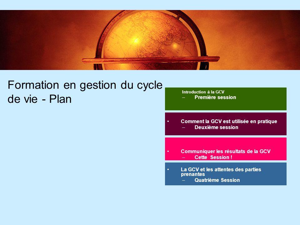 2 2 Formation en gestion du cycle de vie - Plan Introduction à la GCV –Première session Comment la GCV est utilisée en pratique –Deuxième session Comm