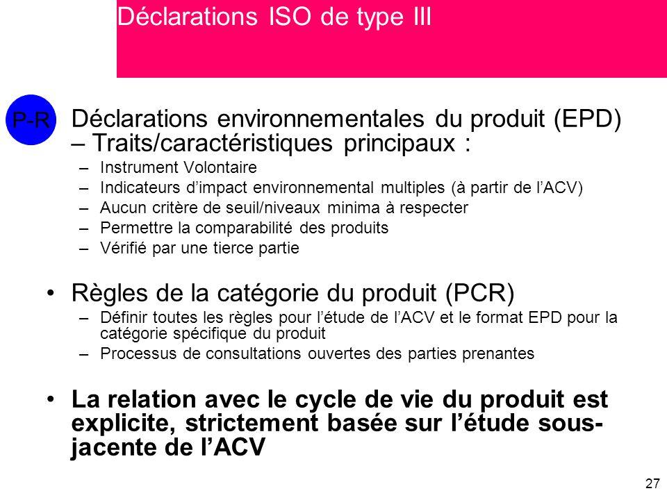 27 Déclarations environnementales du produit (EPD) – Traits/caractéristiques principaux : –Instrument Volontaire –Indicateurs d'impact environnemental