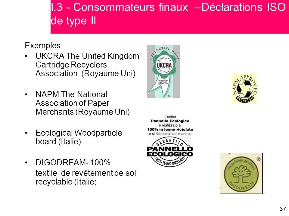 37 Exemples: UKCRA The United Kingdom Cartridge Recyclers Association (Royaume Uni) NAPM The National Association of Paper Merchants (Royaume Uni) Eco
