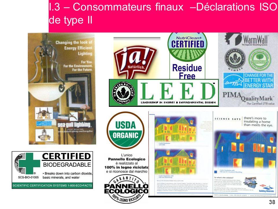 38 I.3 – Consommateurs finaux –Déclarations ISO de type II