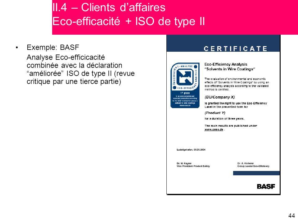 """44 Exemple: BASF Analyse Eco-efficicacité combinée avec la déclaration """"améliorée"""" ISO de type II (revue critique par une tierce partie) II.4 – Client"""