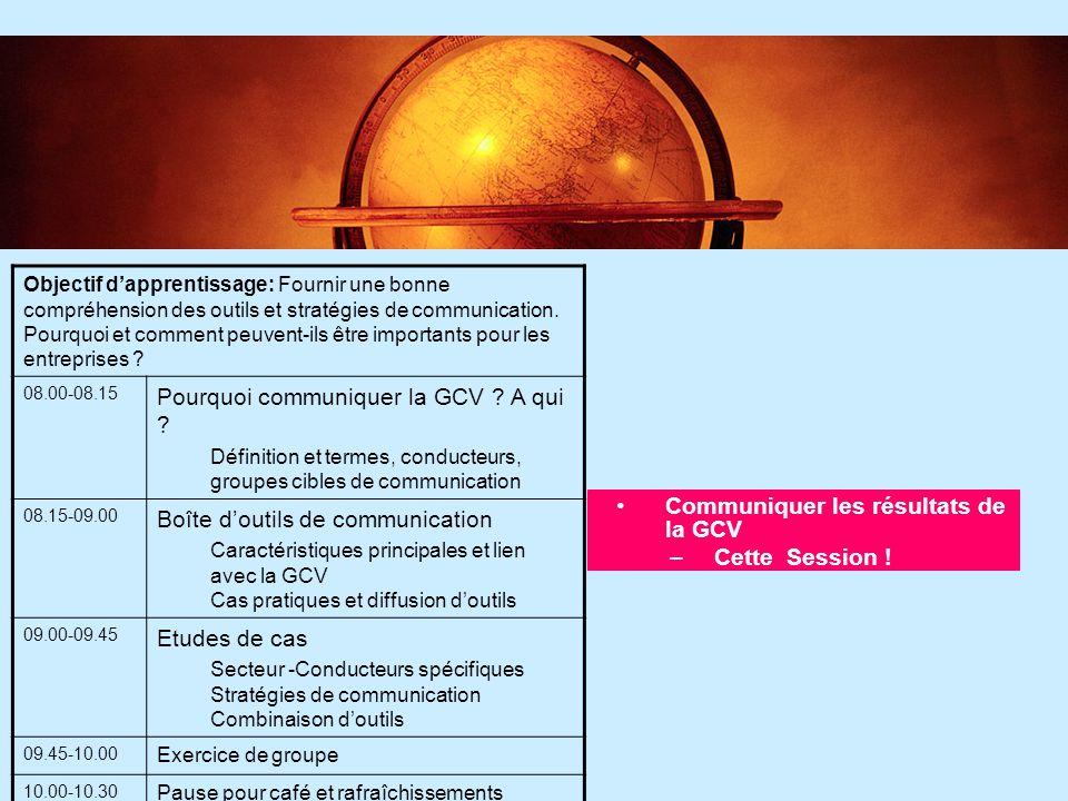 5 5 Communiquer les résultats de la GCV –Cette Session ! Objectif d'apprentissage: Fournir une bonne compréhension des outils et stratégies de communi