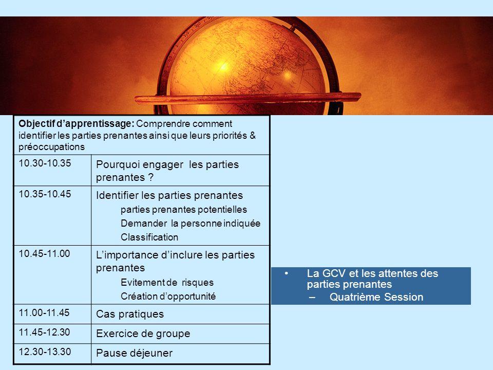6 6 La GCV et les attentes des parties prenantes –Quatrième Session Objectif d'apprentissage: Comprendre comment identifier les parties prenantes ains