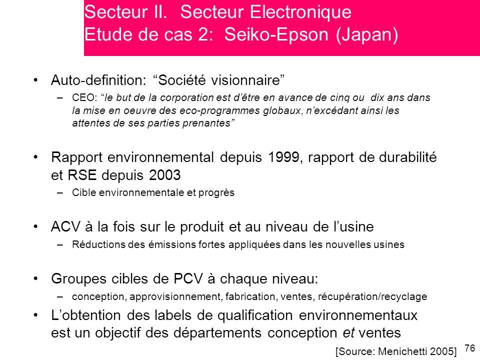 """76 Auto-definition: """"Société visionnaire"""" –CEO: """"le but de la corporation est d'être en avance de cinq ou dix ans dans la mise en oeuvre des eco-progr"""