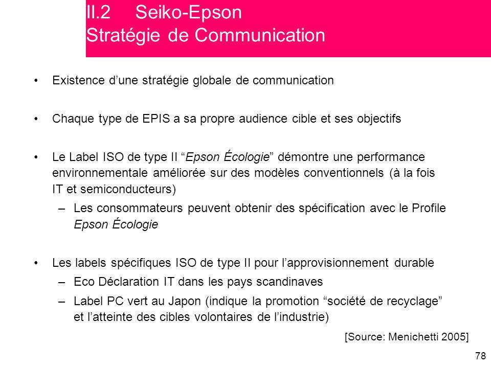 """78 Existence d'une stratégie globale de communication Chaque type de EPIS a sa propre audience cible et ses objectifs Le Label ISO de type II """"Epson É"""