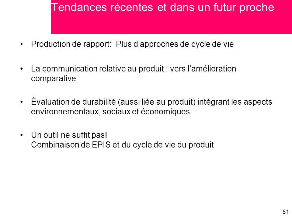 81 Production de rapport: Plus d'approches de cycle de vie La communication relative au produit : vers l'amélioration comparative Évaluation de durabi