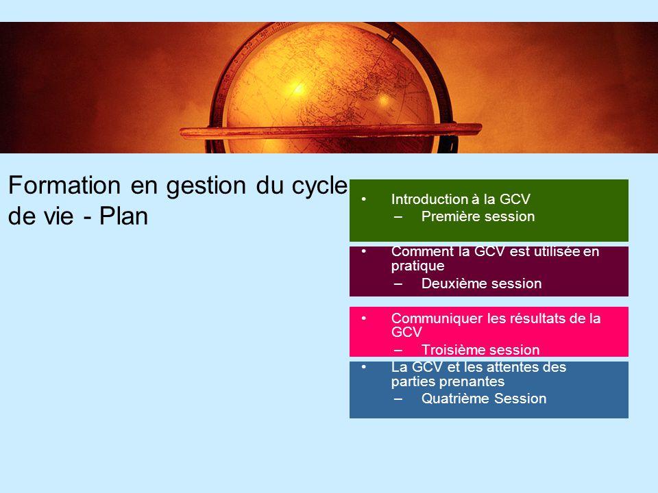 86 Formation en gestion du cycle de vie - Plan Introduction à la GCV –Première session Comment la GCV est utilisée en pratique –Deuxième session Commu
