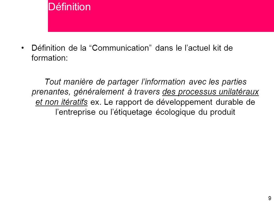 """9 9 Définition de la """"Communication"""" dans le l'actuel kit de formation: Tout manière de partager l'information avec les parties prenantes, généralemen"""
