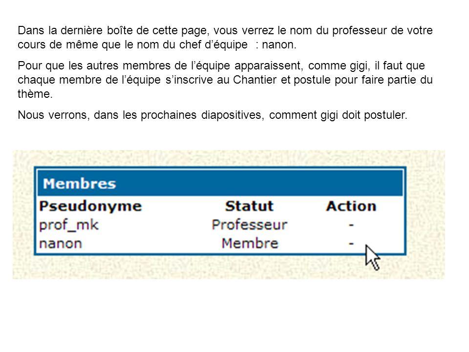 Dans la dernière boîte de cette page, vous verrez le nom du professeur de votre cours de même que le nom du chef d'équipe : nanon. Pour que les autres