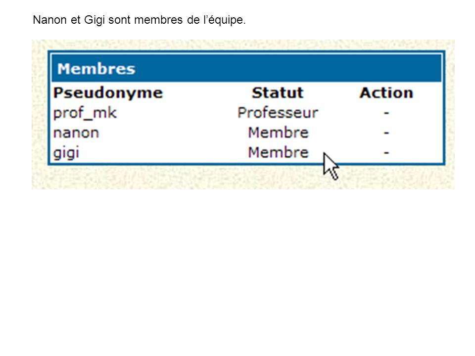 Nanon et Gigi sont membres de l'équipe.