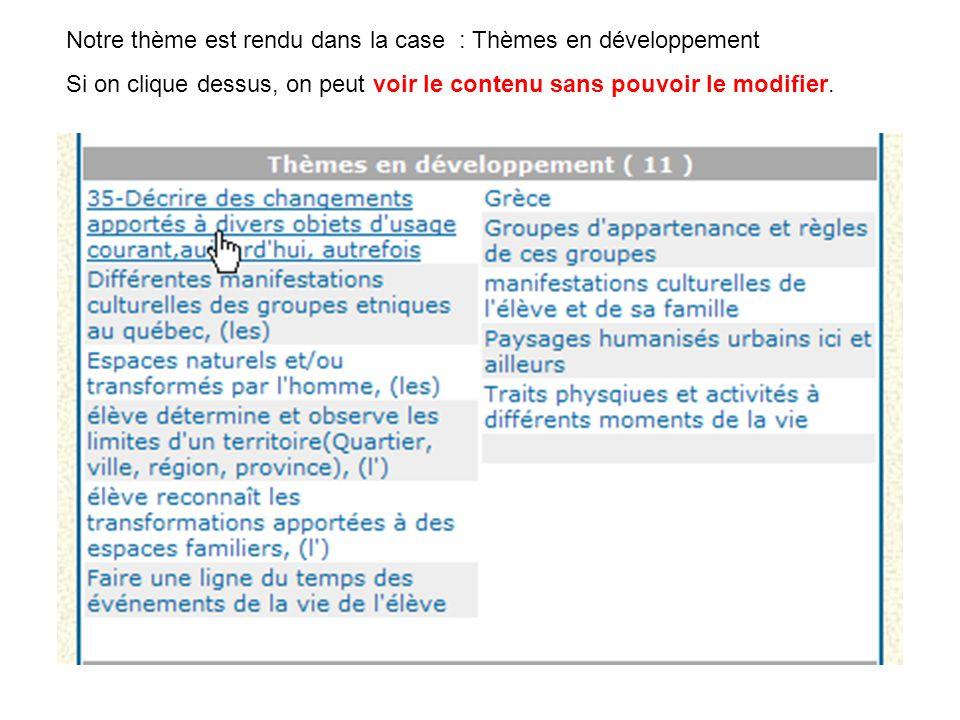 Notre thème est rendu dans la case : Thèmes en développement Si on clique dessus, on peut voir le contenu sans pouvoir le modifier.