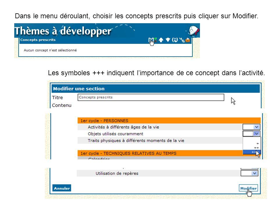 Dans le menu déroulant, choisir les concepts prescrits puis cliquer sur Modifier. Les symboles +++ indiquent l'importance de ce concept dans l'activit