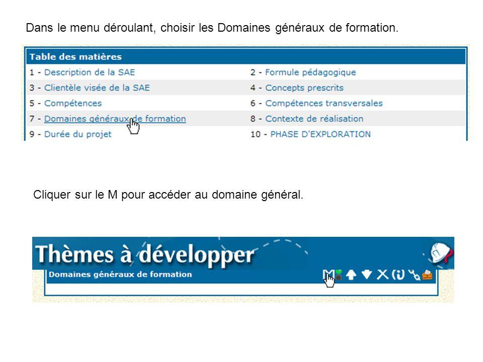 Dans le menu déroulant, choisir les Domaines généraux de formation. Cliquer sur le M pour accéder au domaine général.
