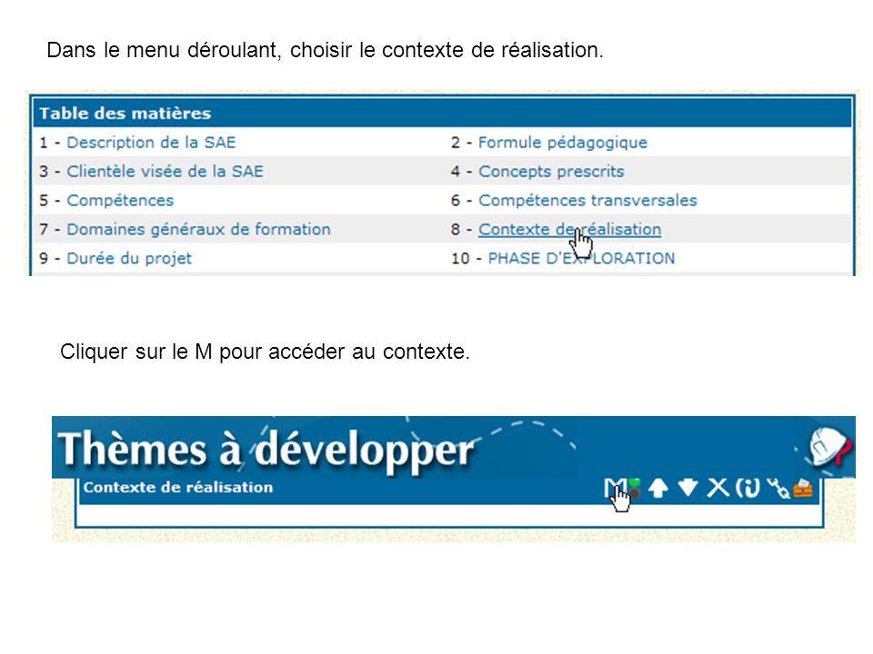 Dans le menu déroulant, choisir le contexte de réalisation. Cliquer sur le M pour accéder au contexte.