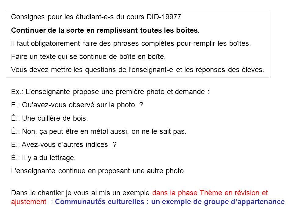 Consignes pour les étudiant-e-s du cours DID-19977 Continuer de la sorte en remplissant toutes les boîtes. Il faut obligatoirement faire des phrases c