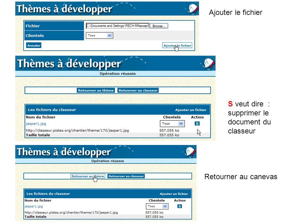 Ajouter le fichier S veut dire : supprimer le document du classeur Retourner au canevas