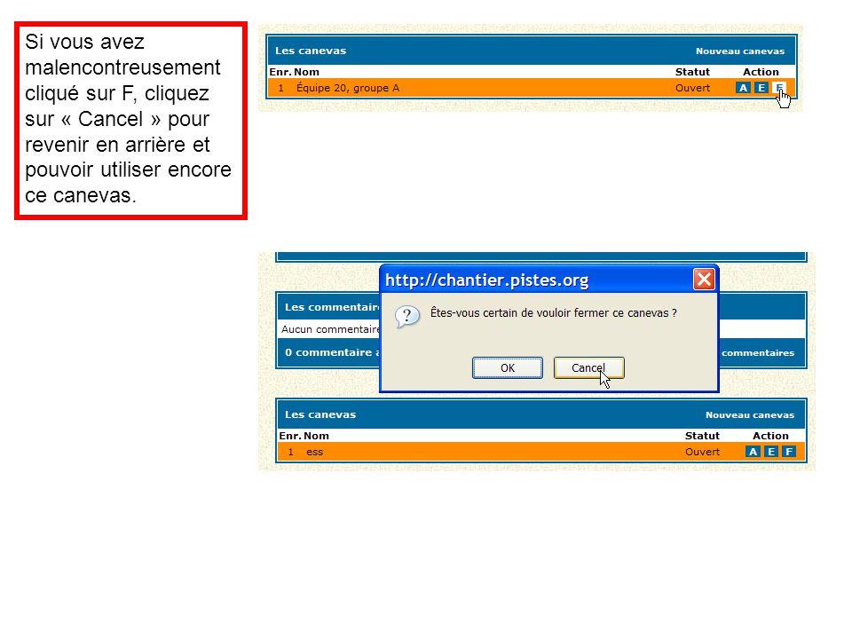 Si vous avez malencontreusement cliqué sur F, cliquez sur « Cancel » pour revenir en arrière et pouvoir utiliser encore ce canevas.