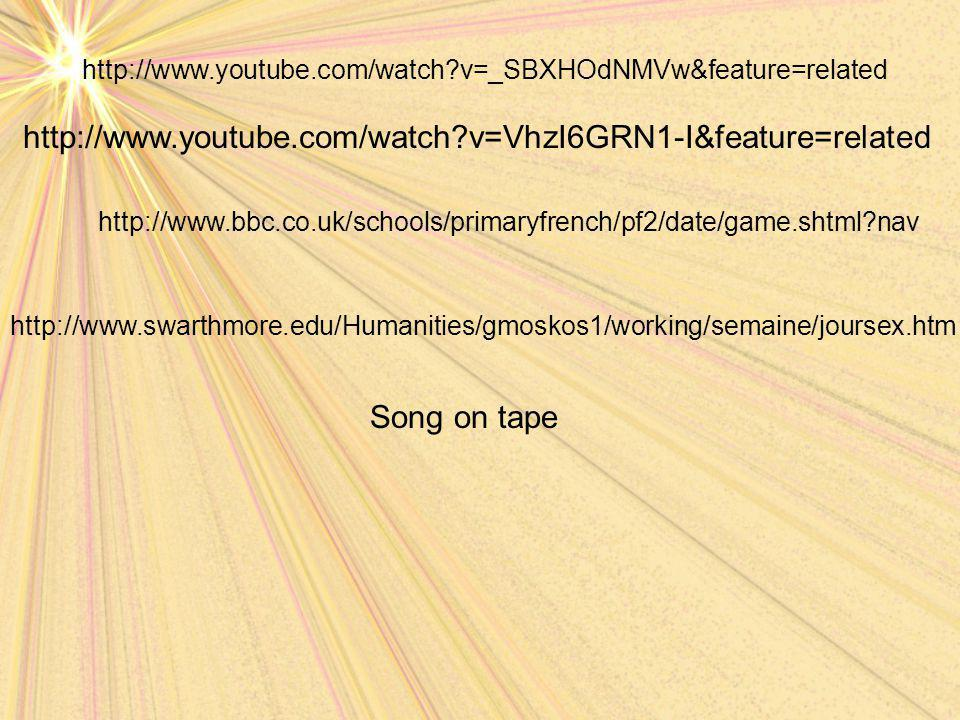 Song on tape http://www.bbc.co.uk/schools/primaryfrench/pf2/date/game.shtml?nav http://www.swarthmore.edu/Humanities/gmoskos1/working/semaine/joursex.