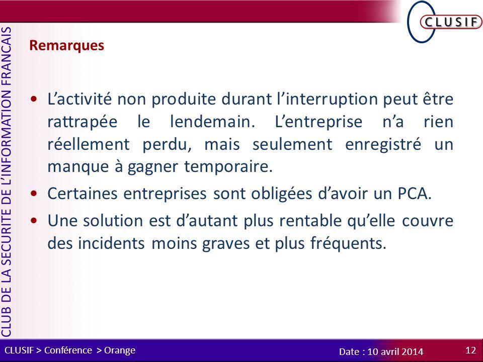 Remarques L'activité non produite durant l'interruption peut être rattrapée le lendemain.
