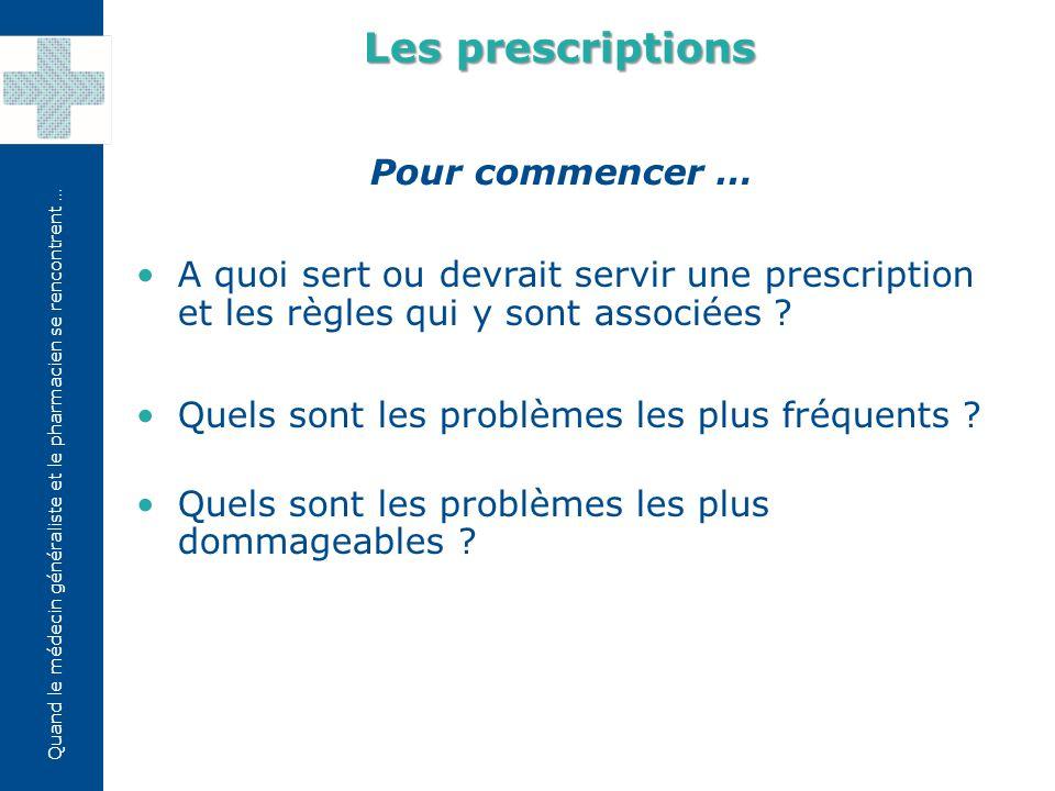 Quand le médecin généraliste et le pharmacien se rencontrent … Recip-e: prescription médicale électronique Les prescriptions