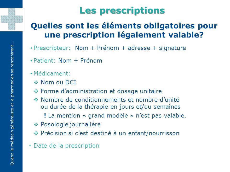 Quand le médecin généraliste et le pharmacien se rencontrent … Quel est le modèle règlementaire des prescriptions concernant les médicaments remboursés.