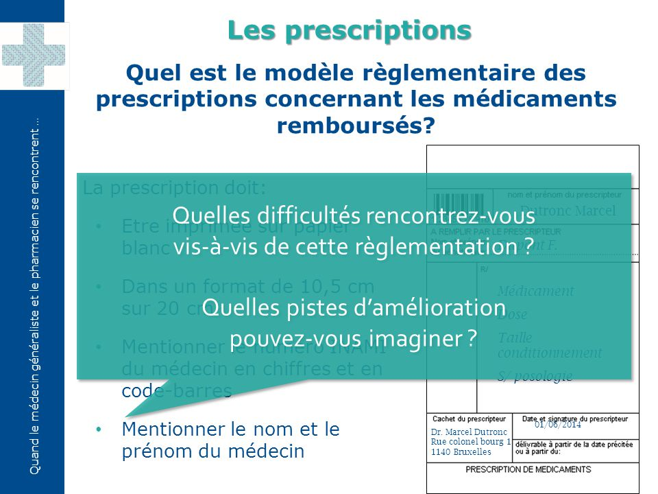 Quand le médecin généraliste et le pharmacien se rencontrent … Combien de temps une prescription est-elle valable.