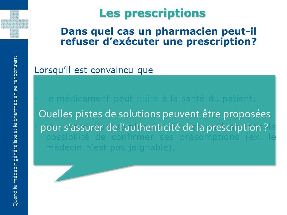 Quand le médecin généraliste et le pharmacien se rencontrent … Un patient demande des médicaments soumis à prescription alors qu'il n'en a pas.