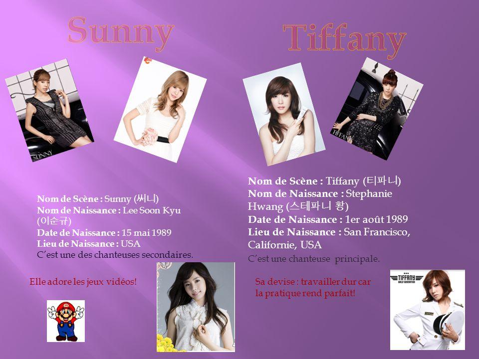 Nom de Scène : Sunny ( 써니 ) Nom de Naissance : Lee Soon Kyu ( 이순규 ) Date de Naissance : 15 mai 1989 Lieu de Naissance : USA C'est une des chanteuses secondaires.