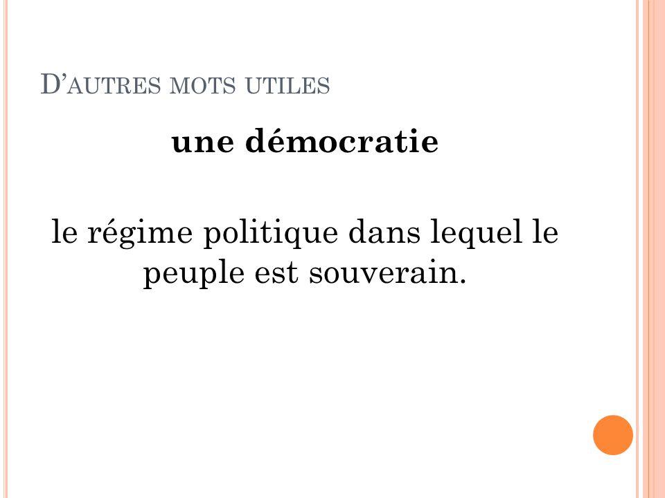 D' AUTRES MOTS UTILES une démocratie le régime politique dans lequel le peuple est souverain.