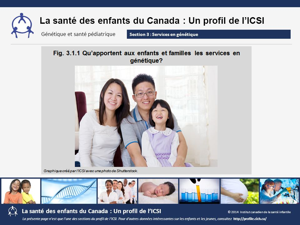 La santé des enfants du Canada : Un profil de l'ICSI Section 3 : Services en génétique Génétique et santé pédiatrique La présente page n'est que l'une des sections du profil de l'ICSI.