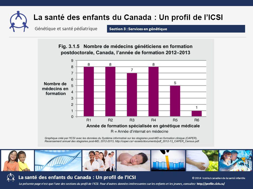 La santé des enfants du Canada : Un profil de l'ICSI Section 3 : Services en génétique Génétique et santé pédiatrique La présente page n'est que l'une
