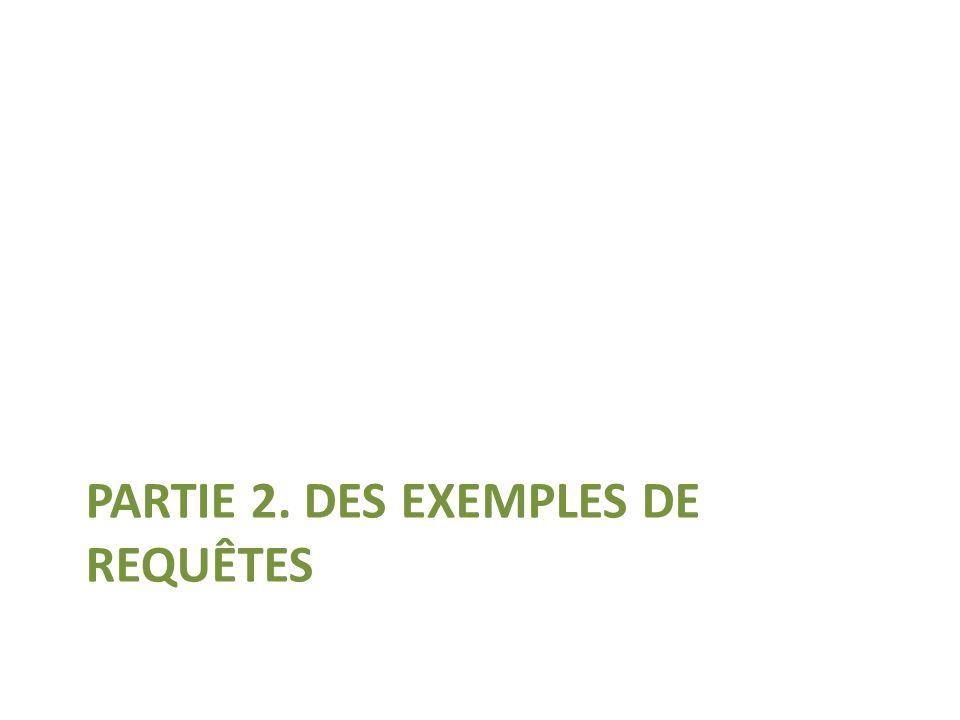 PARTIE 2. DES EXEMPLES DE REQUÊTES