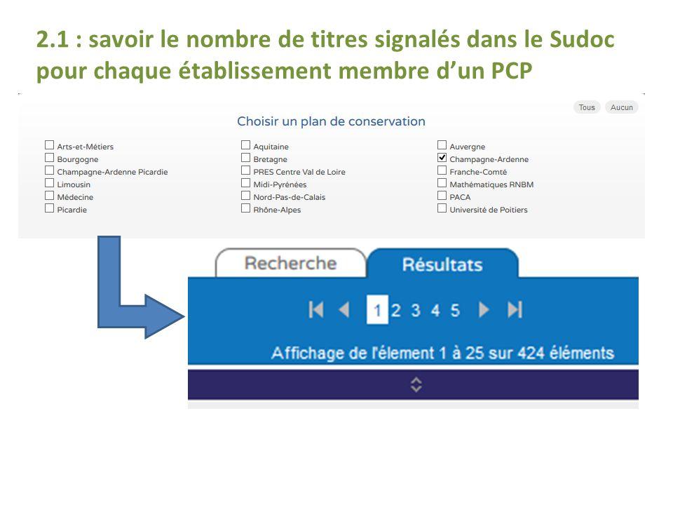 2.1 : savoir le nombre de titres signalés dans le Sudoc pour chaque établissement membre d'un PCP