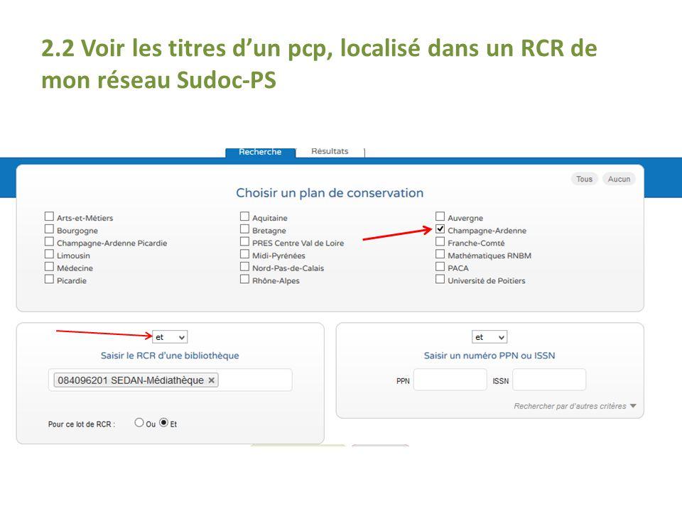 2.2 Voir les titres d'un pcp, localisé dans un RCR de mon réseau Sudoc-PS