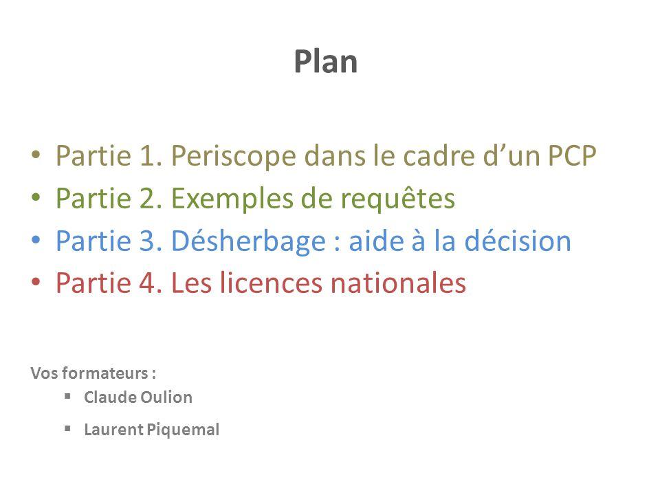 Plan Partie 1. Periscope dans le cadre d'un PCP Partie 2. Exemples de requêtes Partie 3. Désherbage : aide à la décision Partie 4. Les licences nation