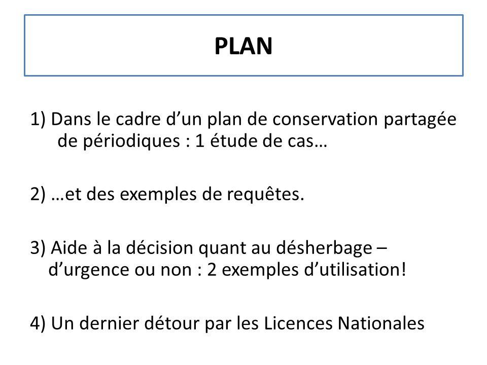 PLAN 1) Dans le cadre d'un plan de conservation partagée de périodiques : 1 étude de cas… 2) …et des exemples de requêtes. 3) Aide à la décision quant