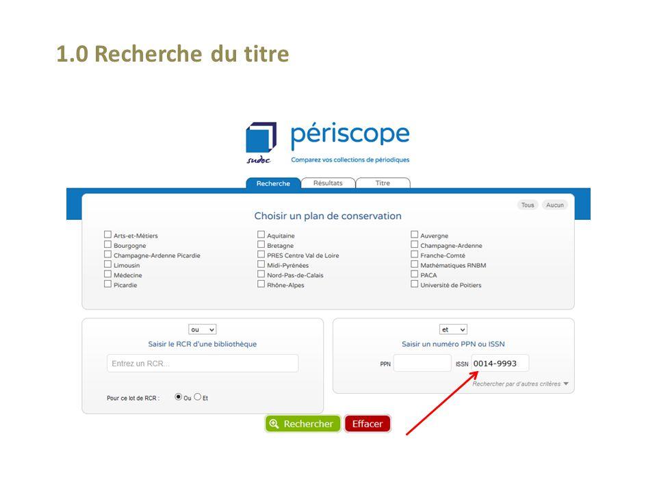 2.4 Après cette requête, comparer un titre concerné par d'autres PCP, ou d'autres RCR dans la région, d'autres RCR en France, d'autres PCP en France!