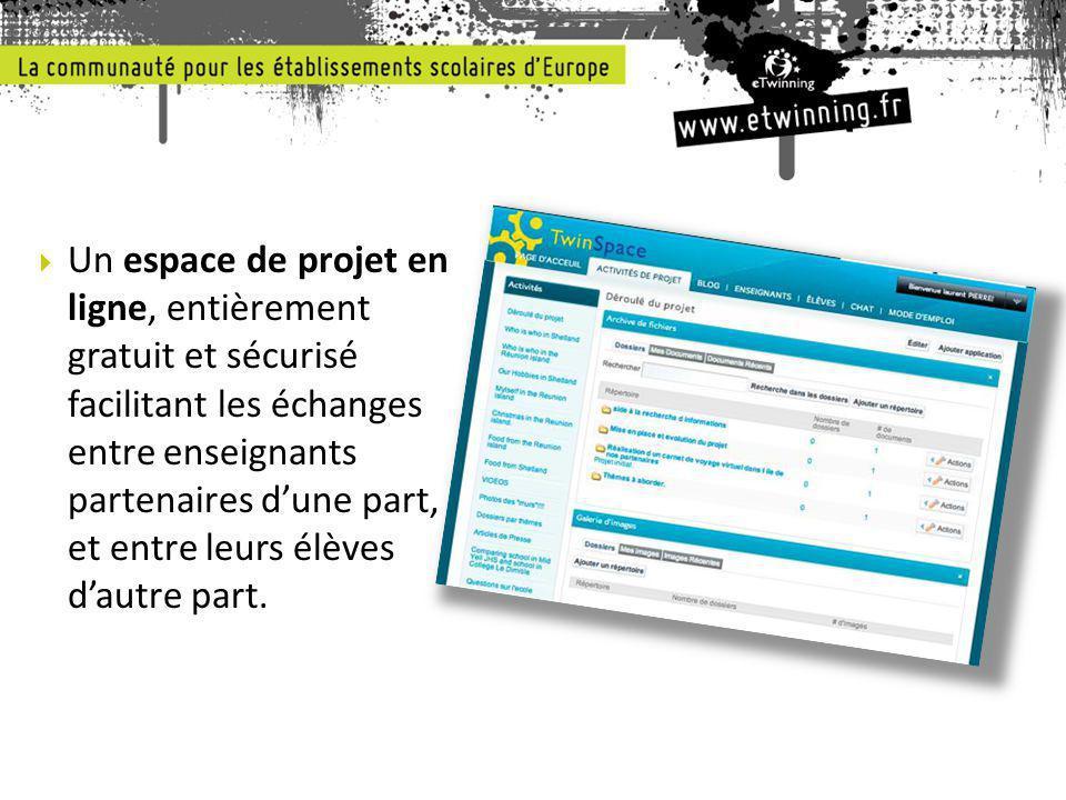  Un espace de projet en ligne, entièrement gratuit et sécurisé facilitant les échanges entre enseignants partenaires d'une part, et entre leurs élèves d'autre part.