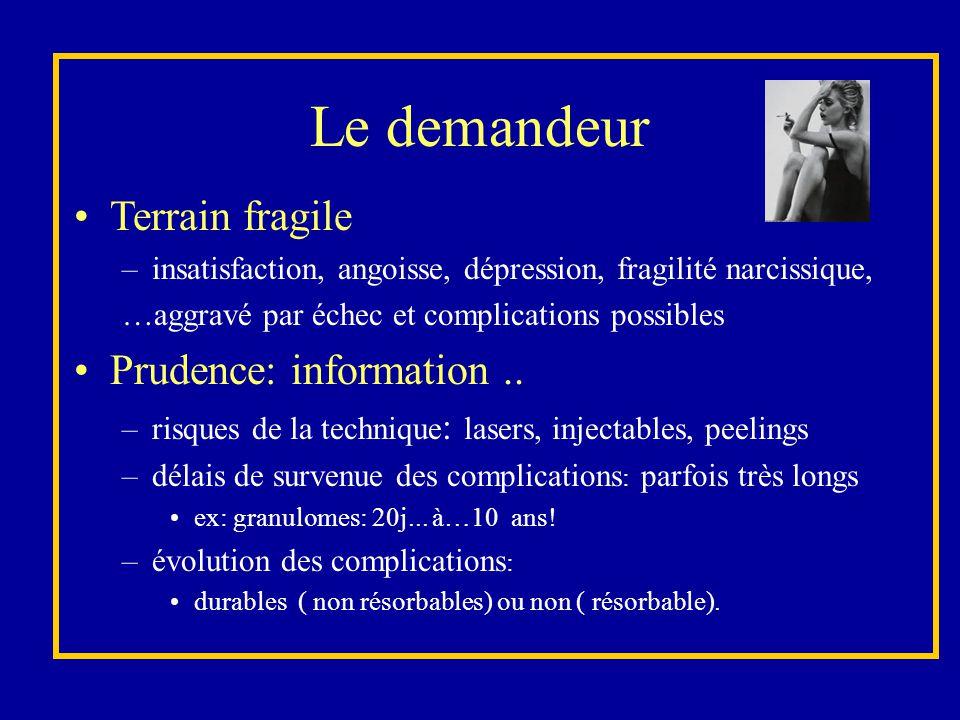 Le demandeur Terrain fragile –insatisfaction, angoisse, dépression, fragilité narcissique, …aggravé par échec et complications possibles Prudence: inf