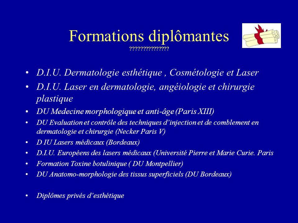 Formations diplômantes ??????????????? D.I.U. Dermatologie esthétique, Cosmétologie et Laser D.I.U. Laser en dermatologie, angéiologie et chirurgie pl