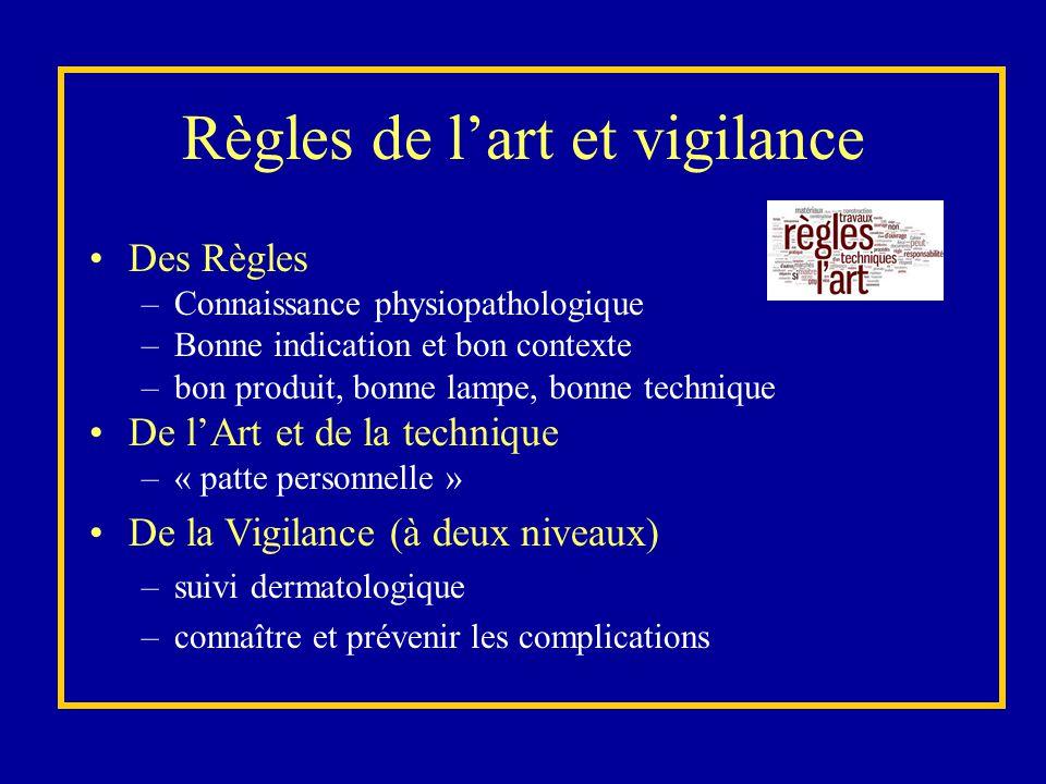 Règles de l'art et vigilance Des Règles –Connaissance physiopathologique –Bonne indication et bon contexte –bon produit, bonne lampe, bonne technique