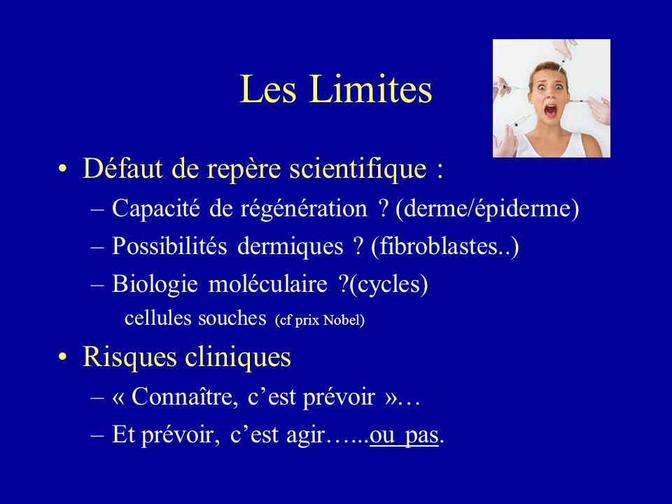 Les Limites Défaut de repère scientifique : –Capacité de régénération ? (derme/épiderme) –Possibilités dermiques ? (fibroblastes..) –Biologie molécula