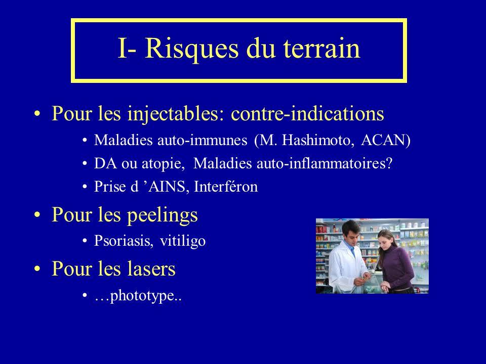 I- Risques du terrain Pour les injectables: contre-indications Maladies auto-immunes (M. Hashimoto, ACAN) DA ou atopie, Maladies auto-inflammatoires?