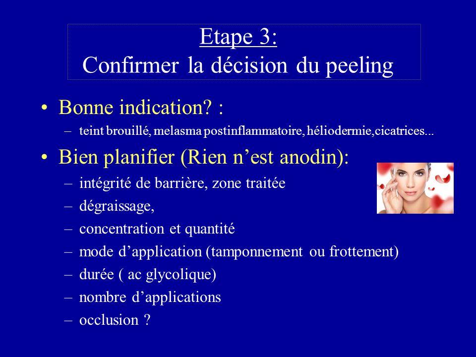 Etape 3: Confirmer la décision du peeling Bonne indication? : –teint brouillé, melasma postinflammatoire, héliodermie,cicatrices... Bien planifier (Ri