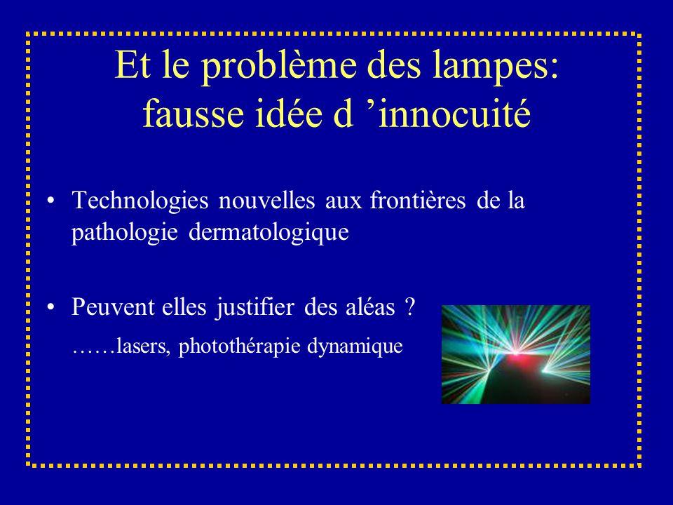 Et le problème des lampes: fausse idée d 'innocuité Technologies nouvelles aux frontières de la pathologie dermatologique Peuvent elles justifier des