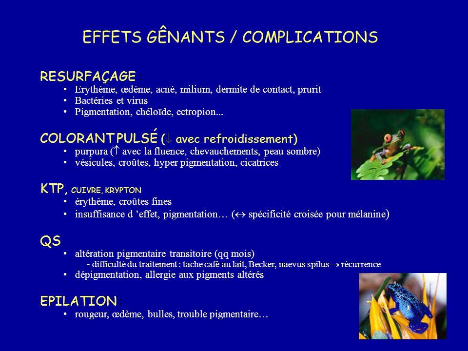 EFFETS GÊNANTS / COMPLICATIONS RESURFAÇAGE : Erythème, œdème, acné, milium, dermite de contact, prurit Bactéries et virus Pigmentation, chéloïde, ectr