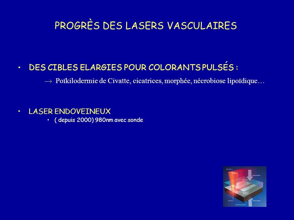 PROGRÈS DES LASERS VASCULAIRES DES CIBLES ELARGIES POUR COLORANTS PULSÉS :  Poïkilodermie de Civatte, cicatrices, morphée, nécrobiose lipoïdique… LAS